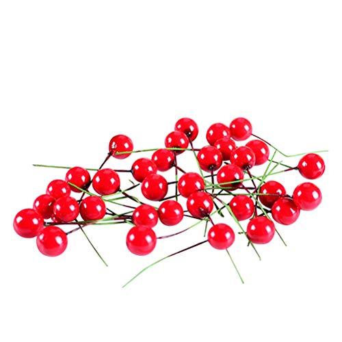 Clispeed 100 pz Artificiale Rosso Agrifoglio Bacca di Natale Berry Pick Falso Bacche Decor per Albero di Natale Fai da Te Decorazioni per la casa Corona di Fiori Uso Artigianale