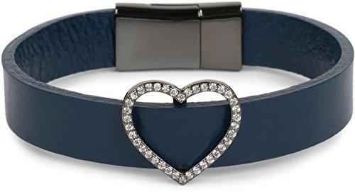 styleBREAKER Armband mit Strass besetztem Herz Schmuck Element, Magnetverschluss, Wickelarmband, Damen 05040111, Farbe:Dunkelblau
