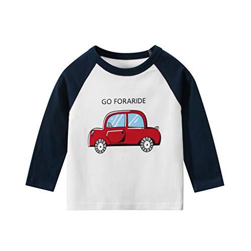 Anglewolf Baby-Jungen T-Shirt take a Bus Rundhals Langarmshirt B Longsleeve Autos Print Zu Fahren T-Shirts Baumwollmischung Sommer Shirts 1-9Jahre(Dunkelblau,110)