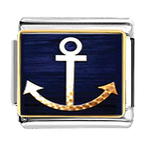 GiftJewelryShop Gold Plated Anchor Symbol Bracelet Link Photo Italian Charms