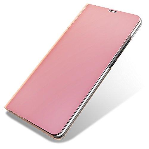 MAOOY Hülle Xiaomi Mi 5c, Xiaomi Mi 5c Mirror Ledertasche, Galvanisieren Spiegel Klare Sicht Tasche Handytasche mit Hart Kunststoff Innenschale und Standfunktion für Xiaomi Mi 5c, Roségold