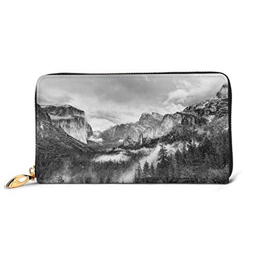 Kimisoy America Yosemite Valley Forest Yosemite cuero embrague impermeable titular de la tarjeta con cremallera de gran capacidad cartera de la pulsera durable sobre embrague portátil de uso diario