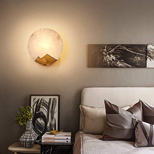 SWNN Luces de pared Oro Blanco Mármol Lámpara de Pared Diámetro 20 cm Sala Comedor Dormitorio Mesita de noche Corredor Nórdico Lujo Simple Luz Cálida
