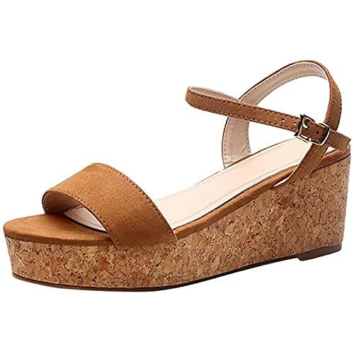 CHLDDHC Sandalias de mujer con suela de plataforma y tacón de cuña, sandalias de dedo abierto para mujer, sandalias de playa, zapatos de verano, cómodas sandalias de playa