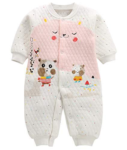 FEOYA Pyjama Combinaison Bébé Eté Pyjama Nouveau Né 0-3 Mois Body Manches Longues Fille Garçon Grenouillère à Jambe Coton Naissance Sleepwear,Blanc,0-3 mois