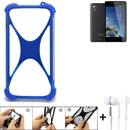 K-S-Trade® Bumper Für Kazam Trooper 2 6.0 Schutzhülle Handyhülle Silikon Schutz Hülle Cover Case Silikoncase Silikonbumper TPU Softcase Smartphone, Blau (1x), Headphones