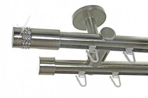 BASIT Innenlauf Gardinenstange Edelstahl Look 20mm Deckenbefestigung, 2-läufig Kristall, Länge wählbar D40 E38E30, Länge:400 cm