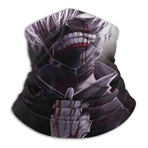 Ken-Tokyo Ghoul Fleece Neck Warmer Neck Gaiter Warmer Windproof Mouth Face Mask Magic Scarf Bandana Balaclava for Adult Kids Black