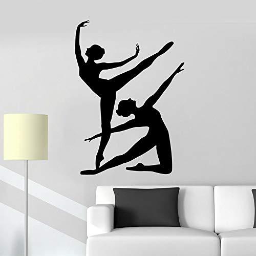 Bailarina de ballet calcomanía de pared silueta de niña bailando vinilo etiqueta de la pared niña niños dormitorio decoración del hogar escuela aula mural