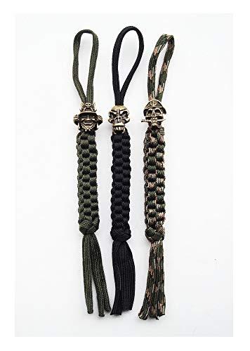 Danuland Taschenmesser für Kordel mit Alloy Schädel Perlen,Handgefertigte Lanyards Anhänger für Jagdmesser/Outdoor Gear/Reißverschluss Pulls/Schlüsselanhänger/Kamera/Zell,3 pcs