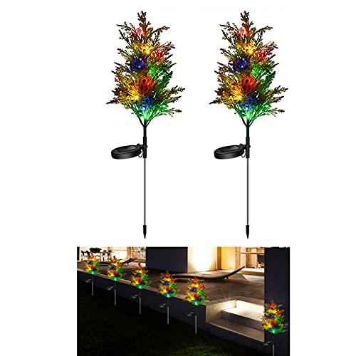 QXIAO Luces Solares de Decoración Navideña Luces LED Enchufables para árboles de Navidad Al Aire Libre Patio Jardín Luces de Césped Luces Decorativas de Paisaje (2 Piezas)