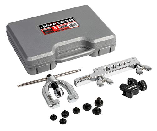 ARES 18019 - Double Flaring Tool Set with Extra Adapters- Use on Copper, Aluminum, Soft Steel Brake Line and Brass Tubing - Includes Mini Tubing Cutter and Storage Case