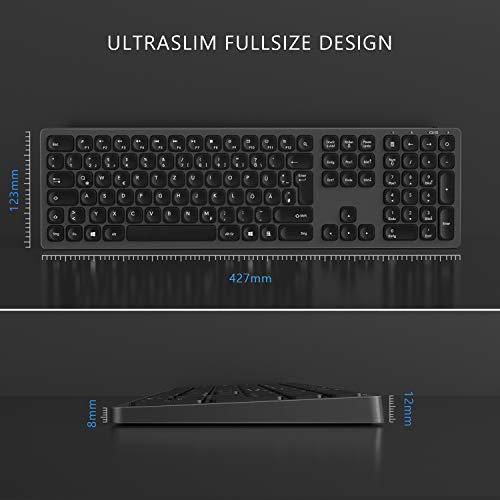 Jelly Comb 2.4G Funktastatur mit Maus Set, Kabellose Ultraslim Fullsize USB Tastatur Maus Kombi Wiederaufladbar für Windows PC, Laptop, QWERTZ Deutsches Layout, Galaxy Grau