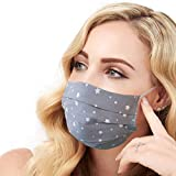 Lilind® Face Mask, Handmade in UK, Comfortable Gift, Breathable Soft Cloth, Reusable and Washable Covering, 100% Cotton, Gray Stars Print