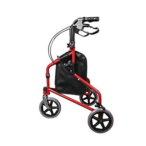 OMLTER Ajustable Vertical Ancianos Recuperación Muleta Andador Walker, con La Cesta De Tres Ruedas Ruedas Walker para Uso Interior Y Exterior,Rojo