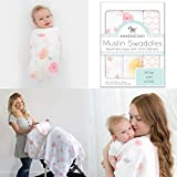 Amazing Baby by Swaddledesigns, Set de 3 Mantas de Muselina Para Bebés, Rosas...