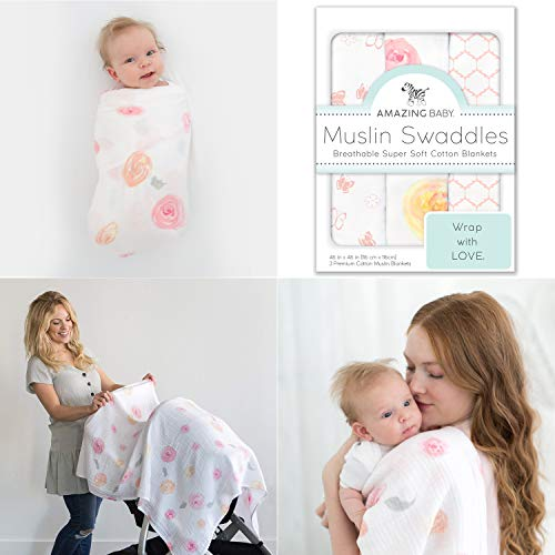 Amazing Baby Cotton Muslin Swaddle Blankets, Set of 3, Watercolor Roses, Pink