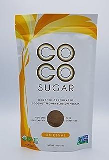 COCO SUGAR USDA Certified Organic, Non-GMO, Halal Certified, Pure and Unrefined Granulated Coconut Sugar 1 Lb - In a box