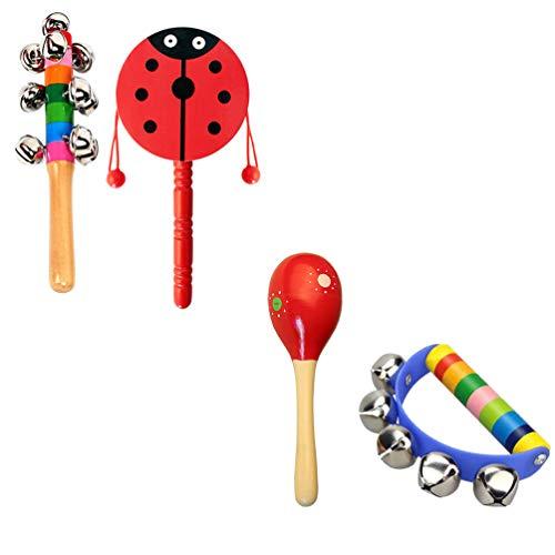 Gadpiparty 4Pcs Bebé Sonajero de Juguete de Mano Cascabel Niños Agitador de Juguete Sonajero Juguete Infantil Juguetes Musicales para Niños (Color Aleatorio)