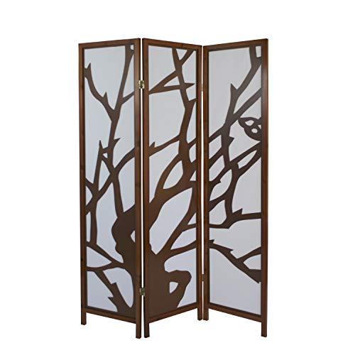 Homestyle4u 893, Design Paravent Raumteiler 3 teilig, Holz Modern, Braun