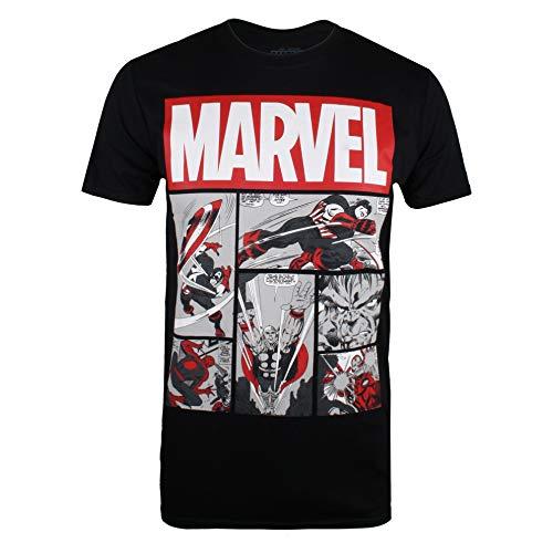 Marvel Herren Heroes Comics T-Shirt, Schwarz (Black Blk), (Herstellergröße: MEDIUM)