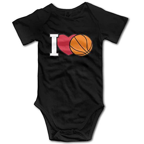 Ich Liebe Basketball3 Baby Jungen oder Mädchen Kurzarm Strampler Kostüm Overall 0-3 Monat