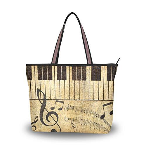 NaiiaN Geldbörse Shopping Umhängetaschen Leichter Gurt für Frauen Mädchen Damen Student Handtaschen Einkaufstasche Musical Note Keyboard