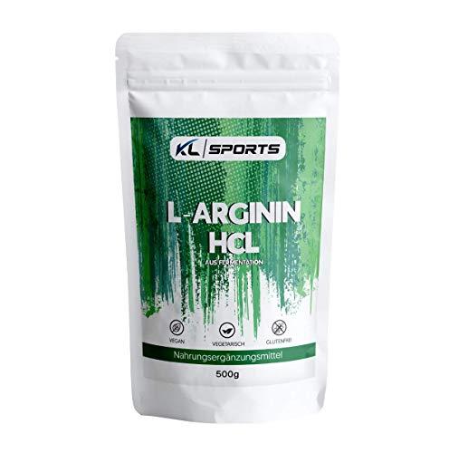 L-Arginin HCL Pulver 500g - Arginin Hydrochlorid aus pflanzlicher Fermentation - 100% rein, vegan - ohne Zusätze, optimale Löslichkeit