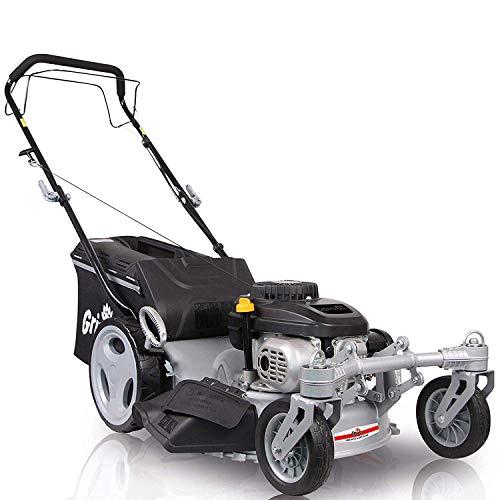 Grizzly Tools Benzin Rasenmäher BRM46 Q 360, Selbstantrieb, 2 bewegliche Vorderräder, 46 cm Schnittbreite, Inkl. Abdeckhaube