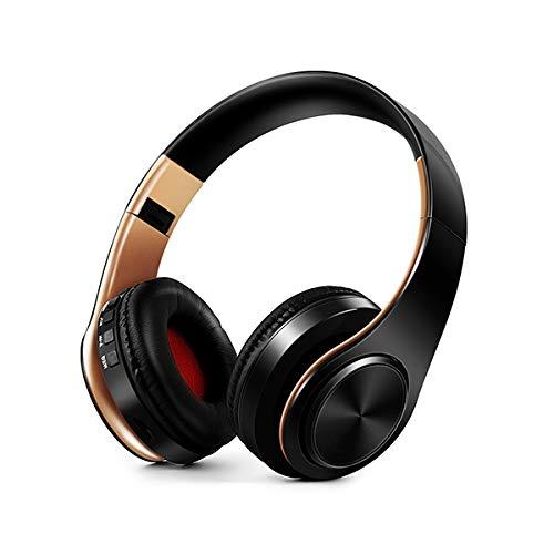 Oyxq Auriculares HiFi estereofonía sintonizador de Auriculares Bluetooth for el iPhone Xiaomi Sumsamg Tableta, con micrófono, Tarjeta de Apoyo y FM (Negro Verde) SD (Color : Golden Black)