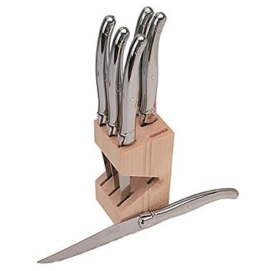 Jean Dubost JD16572 6 Steak Knives In a Wooden Block, Stainless Steel