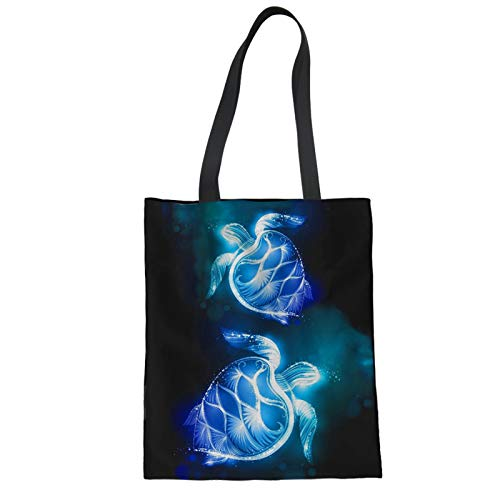 COEQINE Eco-friendly Grocery Bag Canvas Tote Shoulder Bags Polynesian Sea Turtle Print Blue Shopping Handbags for Women Girls