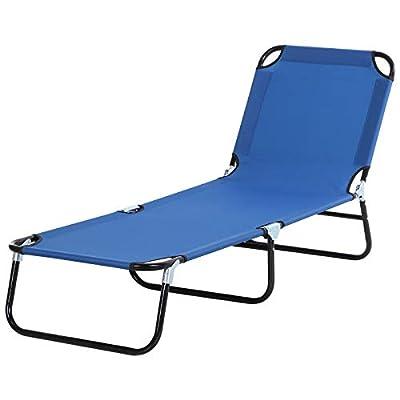 y Sun Lounger Bed With 4-Position Adjustable Backrest Blue