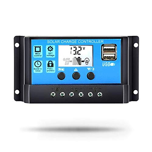 FANCY NOVA 30A Solar Charge Controller, Solar Panel Controller 12V/24V PWM Auto Paremeter Adjustable LCD Display Solar Panel Battery Regulator with Dual USB Port