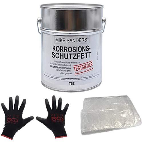 Mike Sanders weiche Mischung Korrosionsschutzfett 4 kg plus Abdeckfolie und Handschuhe