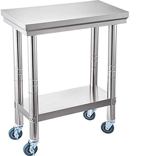 VEVOR Mesa de Trabajo de Cocina Acero Inoxidable 300x600x800mm Preparación Comida, Mesa de Trabajo Comercial con 4 Ruedas con Estante de Ajuste Flexible para Mesa de Preparación de Cocina