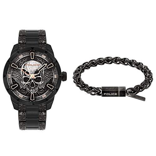 Police Unisex Erwachsene Analog Quarz Uhr mit Edelstahl Armband FW19-XMAS Set