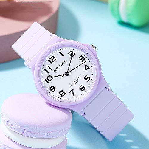 SANDA Reloj Mujer,Ver Moda Ocio al Aire Libre el Mismo Reloj electrónico Femenino Estudiante de Secundaria Reloj-Taro Morado