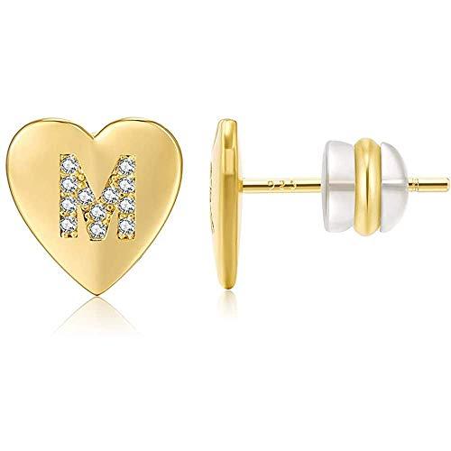 ADLOASHLOU Letra Inicial A-Z Pendientes Mujer Plata de Ley 925, Pendientes Corazón Niña con Zirconia cúbica Pendientes Pequeños Hipoalergénicos Gold-M