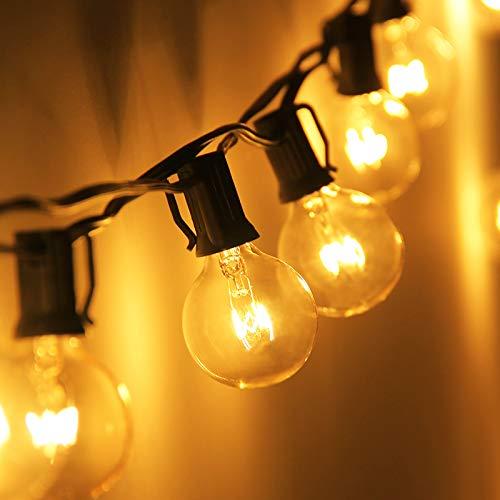 Zidwzidwei Lichtsnoer voor buiten, 7,62 meter, waterdicht, G40 lichtketting, voor binnen en buiten, lichtketting met stekker, voor bruiloft, tuin, patio, café, tuin, feest, enz. (25 lampen + 5 reservelampen)