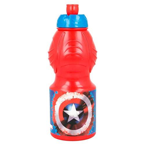 Rainbowfun.de Capitan América Botella para Beber, 400ML, Roja, Azul, Marvel Avengers