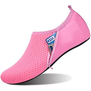 JOINFREE Women New Light Weight Comfort Sole Easy Walking Athletic Slip On Water Shoes Pocket Pink UK 5-6:Eventmanager