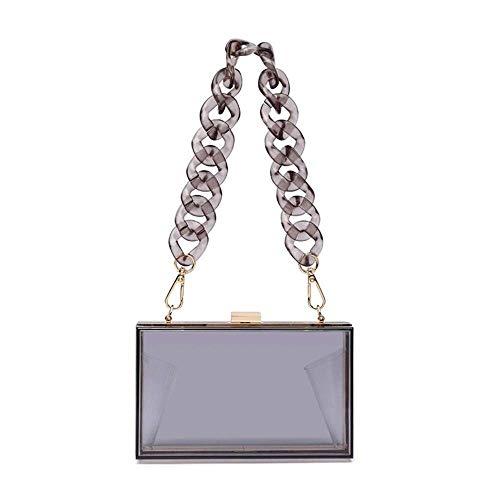 Bolso de acrílico de las mujeres de la caja de noche de la cadena del bolso para las señoras pequeño bolso crossbody para el bolso - negro - S