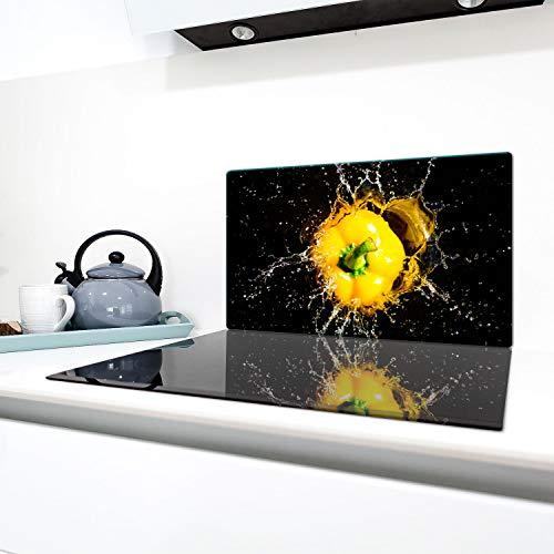 QTA | Placas para cubrir fogones 90 x 52 cm Ceranfeld cubierta cristal protección antisalpicaduras placa placa de cristal placa placa de vitrocerámica cubierta cubierta negro pimientos