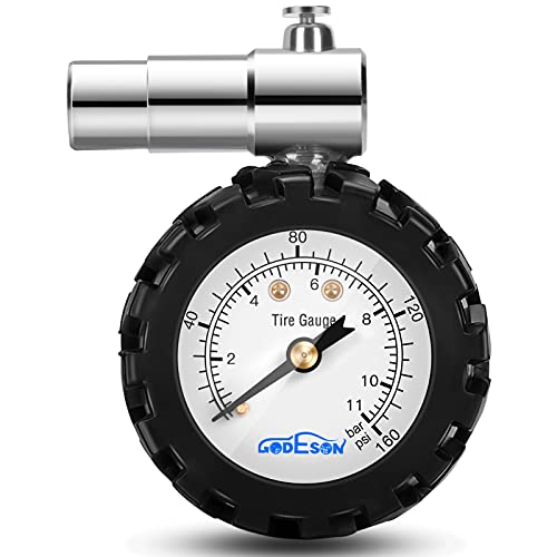 GODESON Luftdruckprüfer Fahrrad,Smart Luftdruckmesser Fahrrad 0-160 psi, Dual Skala 0-11 bar Reifendruckprüfer Fahrrad,Fahrrad Reifen Manometer Professionelles Französisches Ventil Presta Ventil.…