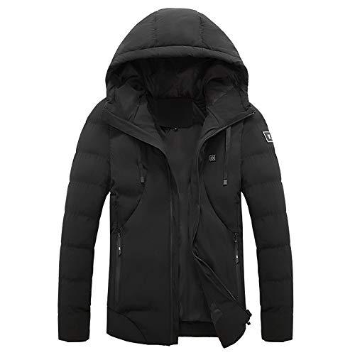 CYzpf Damen Beheizte Jacke Herren Intelligent Daunenjacke Hoodies USB wiederaufladbar Beheizbare Kleidung Winter Wärmer Bekleidung für Outdoorarbeiten & Tägliches Tragen,Black,XL
