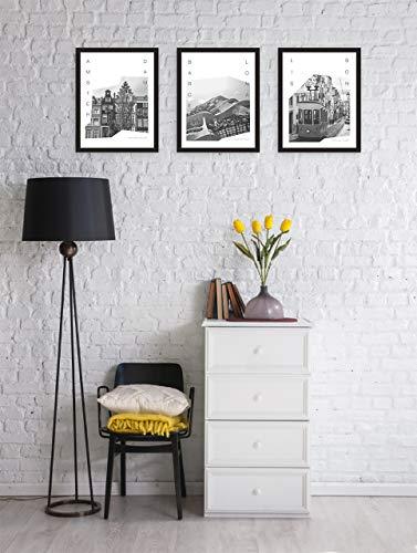 MILUKA Pack 3 Láminas para Enmarcar para Cuadro de Estilo Fotográfico   Póster de Ciudades y Viajes   Amsterdam, Barcelona y Lisboa   Tamaño 20x30cm