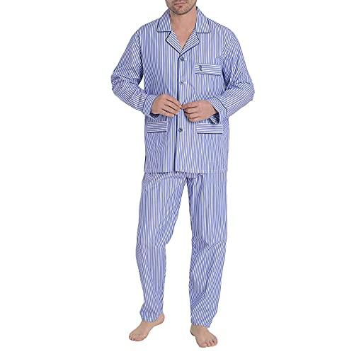 El Búho Nocturno - Pijama Hombre Largo Premium Solapa Popelín Rayas Azul Olímpico 100% algodón Talla 5 (XL)