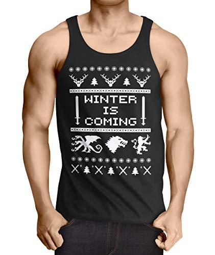 style3 8-Bit Winter is Coming Débardeur Homme Tank Top, Taille:XL, Couleur:Noir