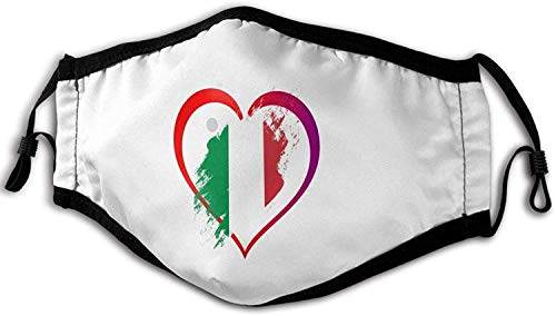 Cloth Face Mask Washable I Love Italian Heart Flag Anti Filter Dust Fabric Mouth Mask Pm2.18 Printed